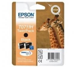 EPSON - EPSON T0711H C13T07114H SİYAH ORJİNAL KARTUŞ - İkili Paket