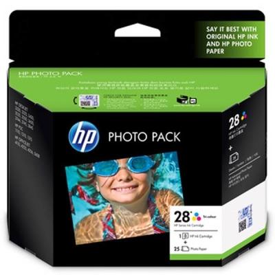HP - HP 28 Q8893AA RENKLİ ORJİNAL KARTUŞ + 25 Fotoğraf Kağıdı
