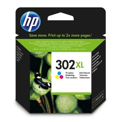HP - HP 302XL F6U67AE RENKLİ ORJİNAL KARTUŞ Yüksek Kapasite DeskJet 2130