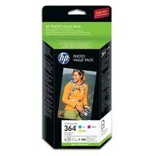 HP - HP 364 3LÜ SET ORJİNAL KARTUŞ CG927EE + 100 FOTOĞRAF KAĞIDI