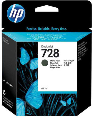 HP - HP 728 F9J64A MAT SİYAH ORJİNAL KARTUŞ 69 ml T730 / T830