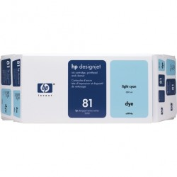 HP - HP 81 C4994A AÇIK MAVİ ORJİNAL KARTUŞ + BASKI KAFASI DesignJet 5000 / 5500