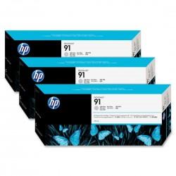 HP - HP 91 C9482A 3lü PAKET AÇIK GRİ (Light Gray) ORJİNAL KARTUŞ - Z6100