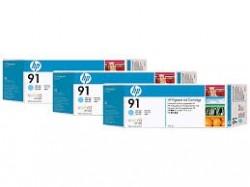 HP - HP 91 C9486A 3lü PAKET AÇIK MAVİ ORJİNAL KARTUŞ - Z6100