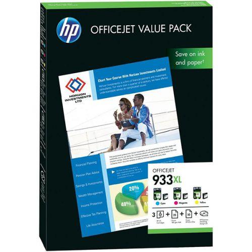 HP 933XL 3lü SET RENKLİ KARTUŞ (CR711AE) + 25 Adet 180 Gr A4 Mat Kağıt + 50 Adet A4 Kağıt