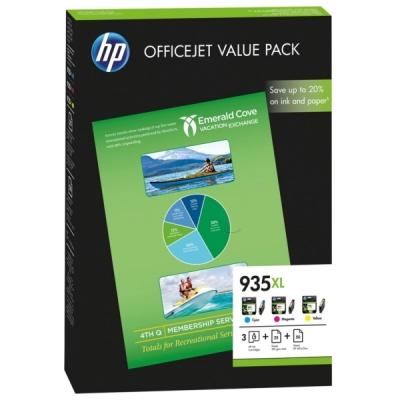 HP - HP 935XL F6U78AE Sarı/Kırmızı/Mavi 3lü Paket Kartuş + 25 Mat Kağıt + 50 Foto. Kağıdı