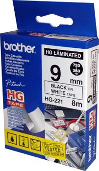 BROTHER - Brother HG221 Beyaz Üzerine Siyah Etiket Şeridi 9mm x 8m