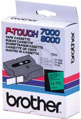 BROTHER - Brother TX-751 Siyah Üzeri Yeşil Lamine Etiket - 24mm x 15m