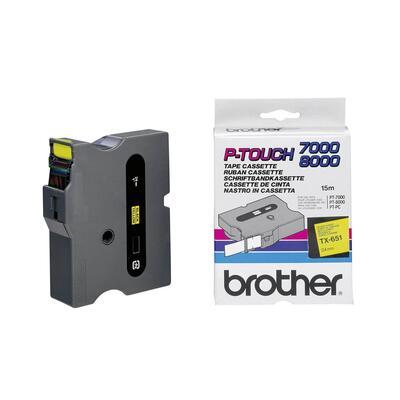 BROTHER - Brother TX-651 Sarı Üstüne Siyah Orjinal Etiket Şeridi - 24mm x 15m