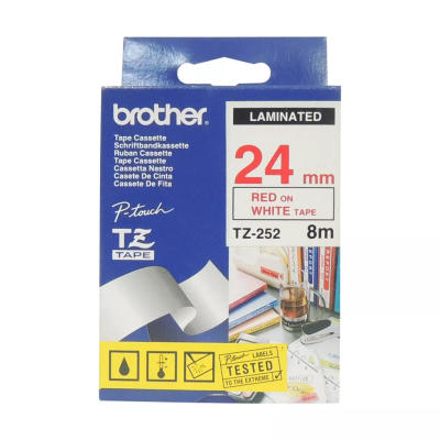 BROTHER - BROTHER TZ-252 (24MM) KIRMIZI LAMİNE ETİKET