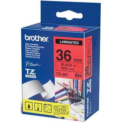BROTHER - Brother TZ-461 Kırmızı Üzerine Siyah Orjinal Etiket Şeridi 36mm x 8m