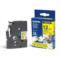 BROTHER - BROTHER TZ-631 TZ-Tape 12mm SARI-SİYAH ETİKET ŞERİDİ-PT 1280 / 1830 / 2430 / 2480