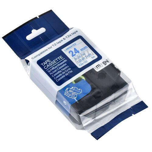 Brother TZe-153 Temizleme Üzerine Mavi Muadil Etiket Şeridi 24mm x 8m