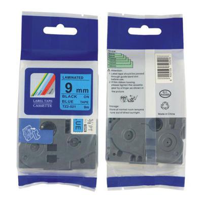 BROTHER - Brother TZE-521 Mavi Üzerine Siyah Muadil Etiket Şeridi 9mm x 8m