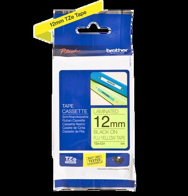 BROTHER - Brother TZe-C31 Flu Sarı Üzerine Siyah Fosforlu Laminasyonlu Etiket 12mm