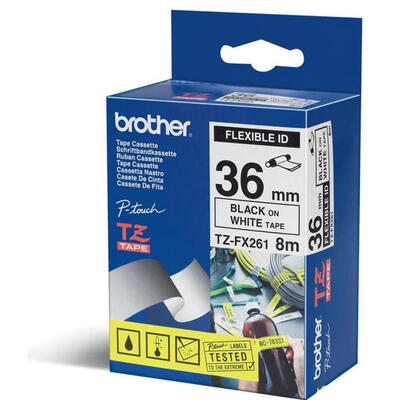 BROTHER - Brother TZe-FX261 Beyaz Üzerine Siyah Orjinal Etiket Şeridi 36mm x 8m