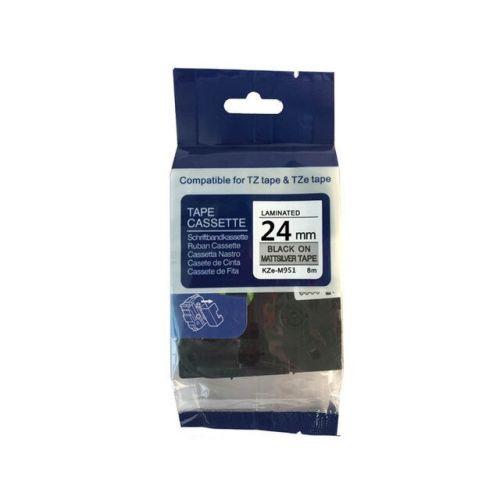 Brother TZe-M951 Mat Gri Üzerine Siyah Muadil Etiket Şeridi 24mm x 8m