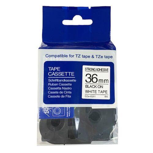 Brother TZe-S261 Beyaz Üzerine Siyah Muadil Etiket Şeridi 36mm x 8m