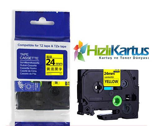 Brother TZe-S651 Sarı Üzerine Siyah Muadil Etiket Şeridi 24mm x 8m