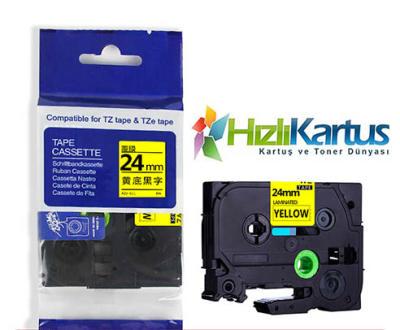 BROTHER - Brother TZe-S651 Sarı Üzerine Siyah Muadil Etiket Şeridi 24mm x 8m