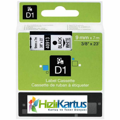 DYMO - Dymo D1 40913 Beyaz Üzerine Siyah Muadil Etiket Şeridi 9mm x 7m