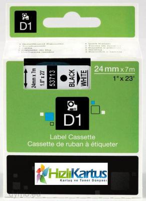 DYMO - Dymo D1 53713 Beyaz Üzerine Siyah Muadil Etiket Şeridi 24mm x 7m