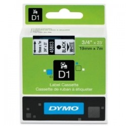 - DYMO D1 YEDEK ŞERİT (45803) 19mm x 7m Beyaz/Siyah Etiket Şeridi