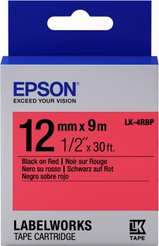 EPSON - Epson LK-4RBP C53S654007 Kırmızı Üzerine Siyah Orjinal Etiket Şeridi LW-400, LW-600P, LW-K400, LW-700