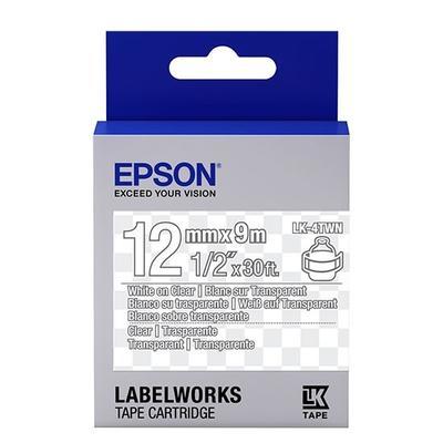 EPSON - Epson LK-4TWN C53S654013 Transparan Üzerine Beyaz Orjinal Etiket Şeridi LW-400, LW-600P, LW-K400, LW-700