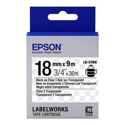 EPSON - Epson LK-5TBN C53S655008 Transparan Üzerine Siyah Orjinal Etiket Şeridi LW-400, LW-600P, LW-K400, LW-700