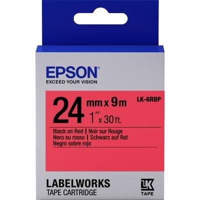 EPSON - Epson LK-6RBP C53S656004 Kırmızı Üzerine Siyah Orjinal Etiket Şeridi LW-400, LW-600P, LW-K400, LW-700