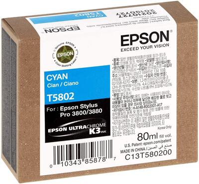 EPSON - Epson T5802 (C13T580200) Mavi Orjinal Kartuş - PRO 3800