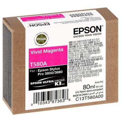 EPSON - Epson T580A (C13T580A00) Kırmızı (Vivid Magenta) Orjinal Kartuş - PRO 3800