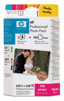 HP - HP 343+348 Q7960EE Fotoğraf Paketi-Kartuş+ 100 Adet Fotoğraf Kağıdı