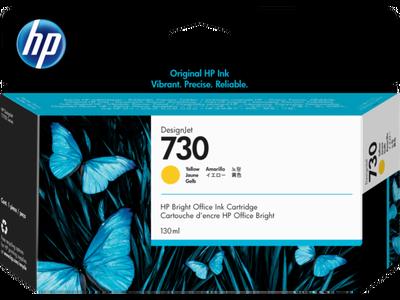 HP - HP 730 P2V64A Sarı Orjinal Kartuş (130 Ml.) DesignJet T1600, T1700, T2600