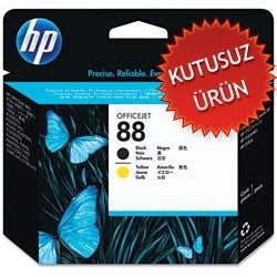 HP - HP 88 C9381A SARI SİYAH KAFA KARTUŞU (KUTUSUZ ORJİNAL ÜRÜN )