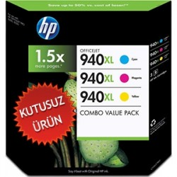 HP - HP 940XL CH637BN ORJİNAL 3LÜ PAKET KARTUŞ Sarı + Kırmızı + Mavi (U)