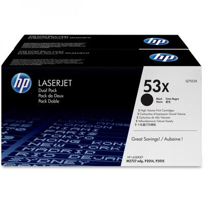 HP - HP Q7553XD (53X) İkili Paket Orjinal Toner Yüksek Kapasite Laserjet P2014 / P2015d